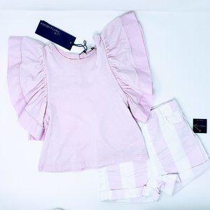 Habitual Girls Flutter Sleeve Top & Shorts